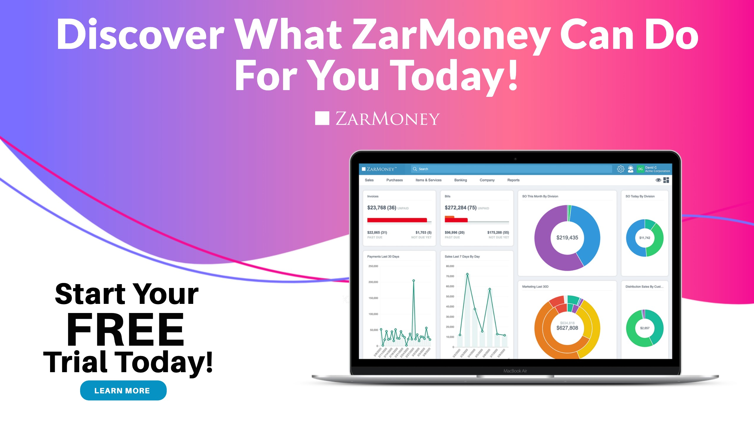Sign up for your free trial today, and discover what Zarmoney can do for you.